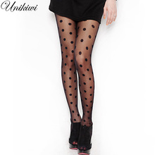 Women's Tights Classic Polka Dot Silk Stockings.Ladies Vintage Faux Tattoo Round Dot Stockings Pantyhose Female Hosiery.2 Colors(China)