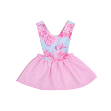 2017 Baby Girls Dress Brand Summer Beach Style Floral Print Party Backless Dresses For Girls Vintage Toddler Girl Clothing 0-4T