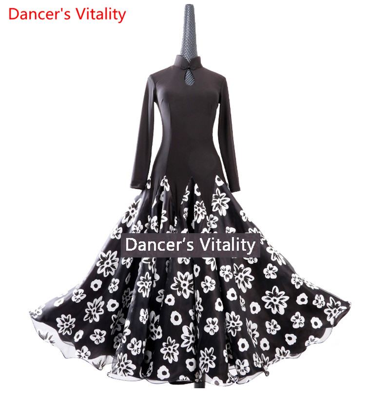 2018 Women Lady Black Performance Competition Standard Ballroom Dance printing Skirts Dress For Waltz Ballroom Dancing