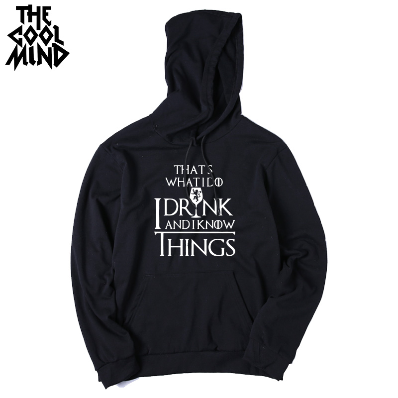 THE COOLMIND Top quality cotton blend game of thrones men hoodies casual winter is coming house of stark men sweatshirt with hat 11