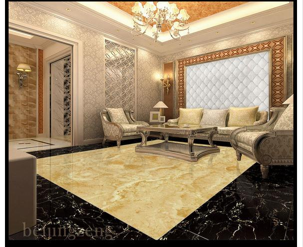 3D wallpaper custom 3d flooring wallpaper mural Oil Huang Wen lobby marble stone floor living room pvc wallpaper home decoration<br>