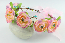 Pink Rustic Hair Wreath Bridal Flower Crown Wedding Head Wreath Brown Floral Headband Boho Hair Accessory Flower Crown(China)