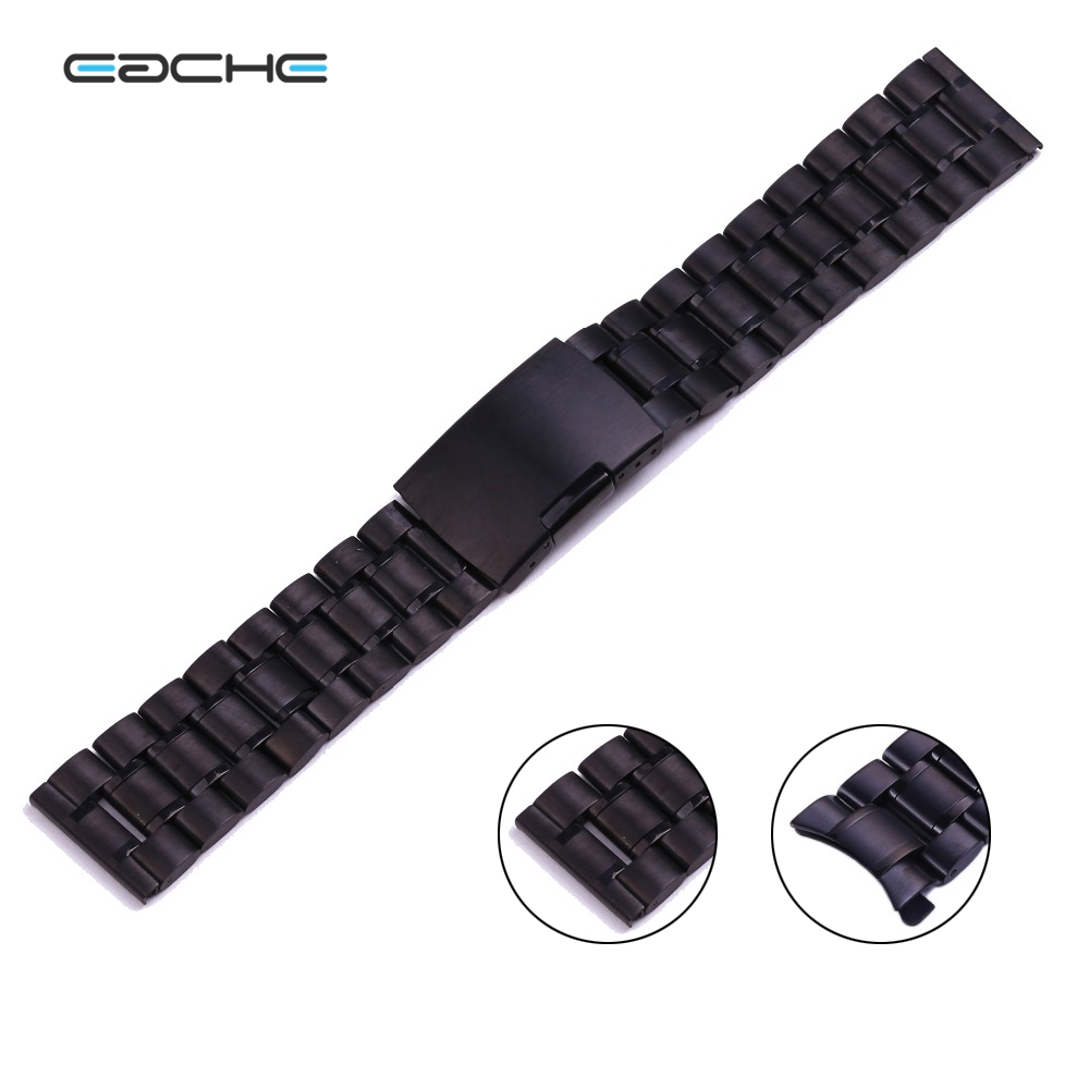 Solid Stainless Steel Watch Band straps Curved Head black color watch band 18mm 20mm 22mm 24mm hot sale<br><br>Aliexpress