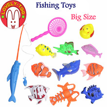 Lovely Too 12PCS Big Size Magnetic Fishing Toy With Rod Net 3D Fish Plastic Outdoor Indoor Fun Game Baby Kids Bath Toys(China)