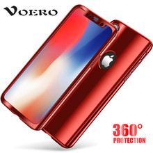 VOERO 360 Degree Full Cover Case For iPhone X 6S 7 Plus Electroplating Process Luxury Hard PC For iPhone 7 6 X Case Phone shell(China)