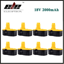 8pcs Eleoption 18V 2000mAh Ni-CD Rechargeable Power Tool Battery for DEWALT DW960 DW934 DW908 DW059 DC759 DC390 18 Volt(China)