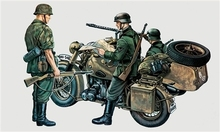 Out of print! Italeri Model Kit - German R75 Motobike with Sidecar - 1:35 Scale - 315