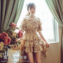 Summer Dress Rushed Limited 2017 High-end Custom Sweet Print Princess Chiffon Dress Holiday For Dovetail Tail Large Size Female