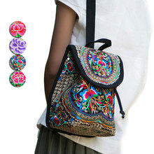 Fashion Women Backpack Canvas Ethnic Style Flowers Embroidery Rucksack Big Capacity For Travel Shopping backpack LXX9