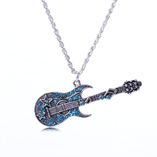 XL1505 Antique Silver Plated Crystal guitar pendant Necklace Fashion Brand Vintage style fine Jewelry for women Party Gifts