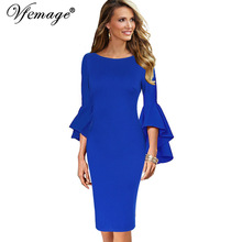 Vfemage Women Autumn Winter Elegant Long Flare Bell Sleeve Fashion Vintage Pinup Formal Party Cocktail Bodycon Sheath Dress 8350(China)