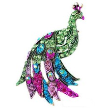 Fashionable Blue Green Peacock Brooch Silver Animal Trendy Alloy Women Lady Female Wedding party For Women Best Special Gift(China)