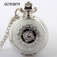 Silver Vintage Crystal Quartz Pocket Watch Necklace Pendant Chain Women pocket fob watches Relogio De Bolso