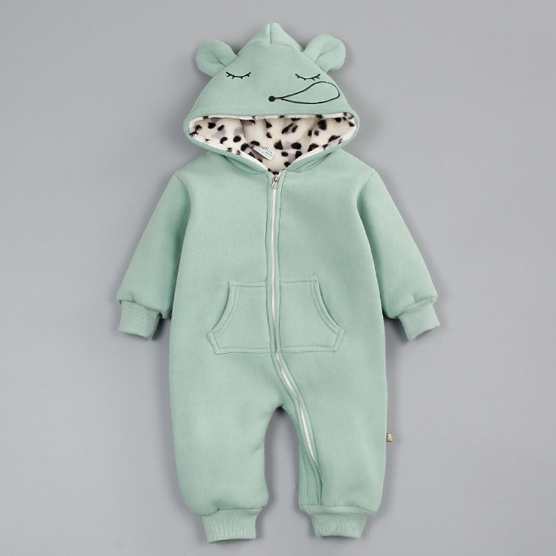 Winter Style Baby Clothes Baby Girl Boy Clothes Cartoon Ear Hoodie Thicken Jumpsuits Baby Costume Newborn Coveralls Rompers<br><br>Aliexpress