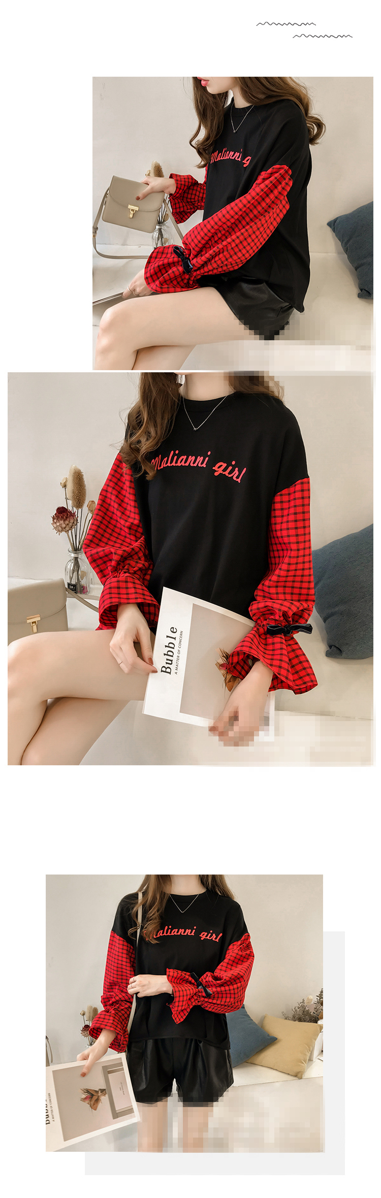 M-4xl Plus Size Cotton Casual T-shirts Women Plaid Patchwork Flare Sleeve O-neck Tshirts Harajuku Fake Two Piece Loose Tees Tops 17 Online shopping Bangladesh