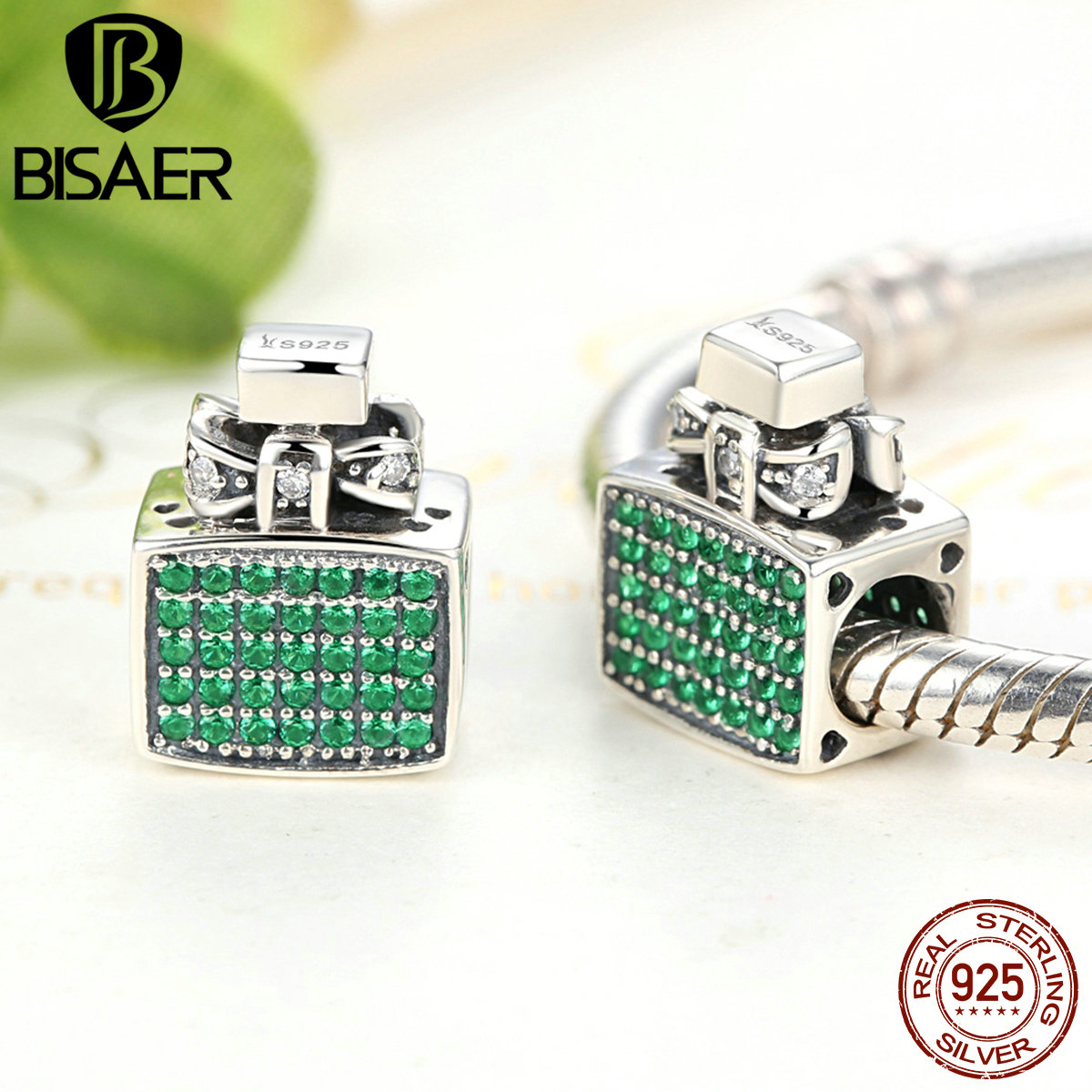 925 Sterling Silver Green Perfume Bottle Bow Knot Bead Charms fit PAN Charm Bracelets & Bangles Fine Sterling Silver Jewelry