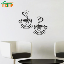 Double Coffee Cups Wall Stickers Room Decoration Vinyl Art Wall Decals Adhesive Stickers On The Kitchen(China)