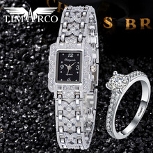 Ladies Watch Luxo Rhinestones Brand Jewelry Full Stainless Steel Bangle Clocks With A Ring Unique Stylish Montre Rejores Hodinky