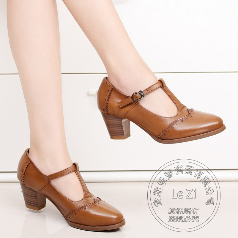 Soft Retro Vintage Shoes Women Pu Shoes With Thick Soles T-Shaped Buckle Ladies Pumps Plain Cowhide High Quality Square Heel<br><br>Aliexpress