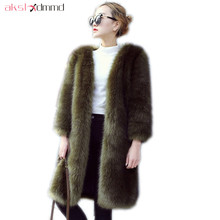 AKSLXDMMD Fashion Faux Fur Coat 2017 New Thick Long Fur Coat Women's Fur Jacket Winter Overcoat Faux Fur Outerwear LH1249(China)