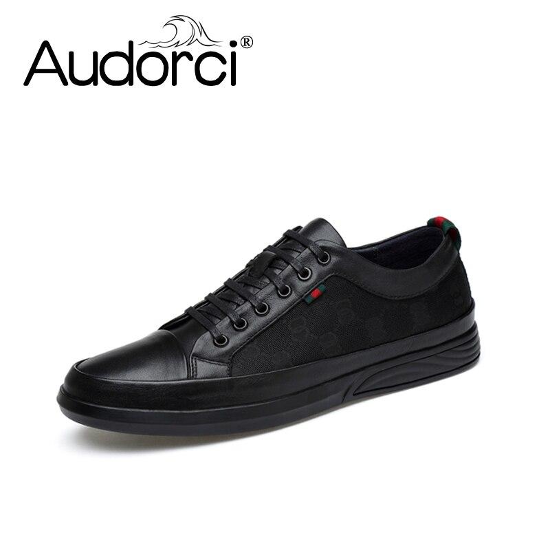 Audorci 2018 Fashion Genuine Leather Men Shoes High Quality Man Lace-Up Casual Shoe Mens Non-slip Flats Shoe Size 38-44<br>