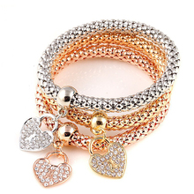 Buy Ethnic Love Heart Charm Bracelets Women Gold Silver Crystal Chain Bracelets & Bangles Pulseras Mujer Accessories 1B323 for $2.35 in AliExpress store