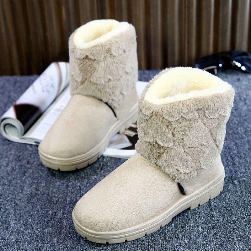 Woman Ankle Boots Snow Booties Slip On Furry Platform Flats Thicken Plush Cotton Warm Women BootsShoes Autumn Winter<br><br>Aliexpress