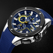 MEGIR New Brand Quartz Watches Men Top Quality Chronograph Functions Watch Waterproof Silicone Casual Clock(China)