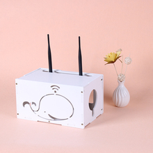 TOPEXTRA DIY Cute Dolphin Storage Box Cable Organizer Lacquer Electrical Outlet Power Strip Wire Cord Collection Box
