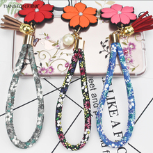 TIANSTON Wrist Hand Floral rope for Mobile phone Chain String Keychain Charm Cord Hang Rope Lariat Lanyard universal  joker 20cm