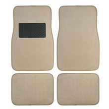 Carpet Floor Mats 4pc Full Set Fit for Universal Car SUV Van & Trucks Driver & Passenger Seat Beige / Black IAFM001(China)
