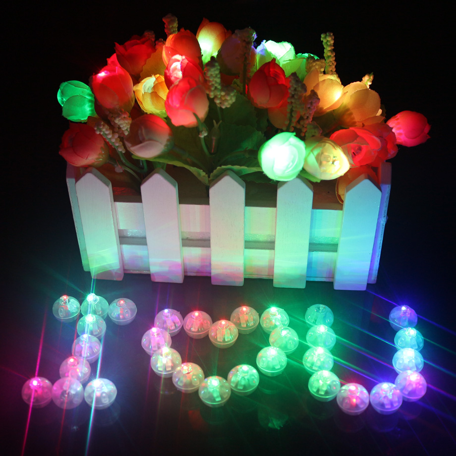 50 Pcs Lot White Round Led Balloon Lights Multicolor Mini RGB Flash Ball Lamps for Wedding Party Decoration 6 Colors Top Quality(China)