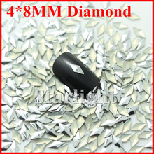 HOT 2014 rhinestones colors nails sliver color 1000pcs/pack 4*8MM diamond for nai art decorations(China)