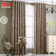 Chenille jacquard Silver Blackout Curtains For Bedroom Modern Luxury Blind Fabric Grey Drapes for Living Room Window Custom size(China)