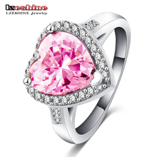 LZESHINE Pink Heart Ring Romantic Classic Silver Color AAA Cubic Zirconia Finger Ring CRI0056-B