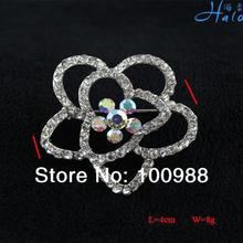 P233-253 Free Shiping 10PC/Lot Mothers Day Gifts Pave Clear Crystal Outline Flower Brooch Rose Pin Silver Plated