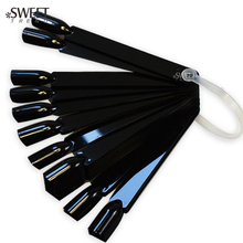 SWEET TREND NEW 24 Tips False Nail Art Tips Sticks Polish Display Fan Shape Black Color Practice Tool Set Nail Accessory LAND294
