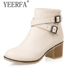 YEERFA Autumn Winter Women Boots Solid European Ladies shoes Martin boots Suede Leather ankle boots with thick scrub Eur 35-43