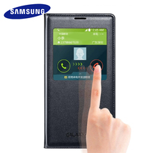 Samsung Galaxy S5 case 100% Original Flip Cases luxury leather silicon cover Smart sleep view window holster protection case S5(China)
