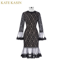 New Arrival Kate Kasin Black Long Sleeve Spring Autumn Poet Cuffs Zipper Crew Neck Hips-Wrapped Floral Lace Dress Free Shipping