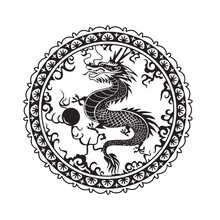 EHome Chinese Dragon Wall Decal Vinyl Round Chinese Style Home Decor Wall Stickers Livingroom Art Wall Murals