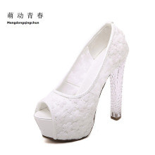 Womens Wedding Shoes 2016 Crystal High Heels Ladies Peep toe platform pumps fashion white lace bridal shoes female zapatos(China)