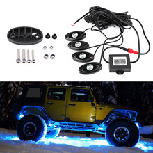 1 Set RGB LED Rock Lights Multi-colors Atmosphere Lamp Wireless Bluetooth Music Flashing Automobiles Car Styling