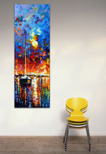 Sailing With The Sun Knife Painting Landscape Vertical Painting On Canvas Print