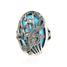New 1 Pc Unisex Women Men Vintage Retro Tibetan High-Quanlity Hollow Music Note Punk Ring 4 Sizes(China)