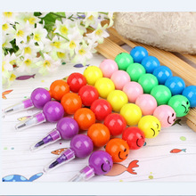 3pcs diy drawing pen 7 colors cute Candied gourd stacker swap smile face crayons children's kids creativity education toys