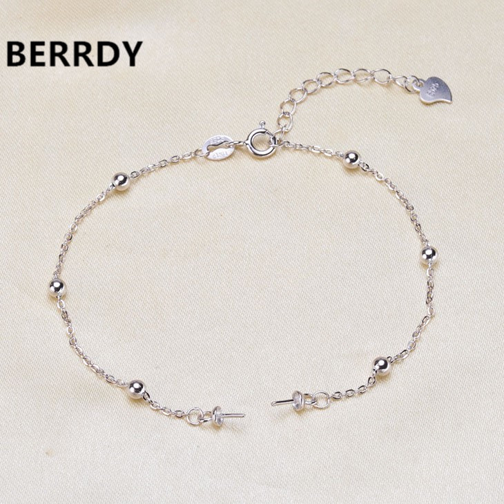 925 Sterling Silver Bracelet Chain, Fashion Charm Bracelet Chain Settings Jewelry Parts Fittings Charm Accessories