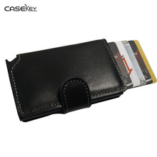 CaseKey Free Shipping Antitheft Men Wallet Leather Mini RFID Wallets Automatic Aluminiun Credit Card Holder Pop Up Card Case(China)