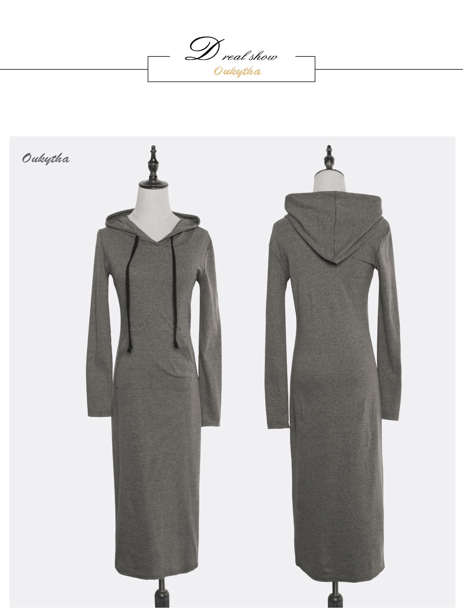 Oukytha 17 New Autumn&Winter Casual Long A-line Ankle-length Dress Hooded Pockets Cotton Long Sleeves Lady Thick Dress M15322 11