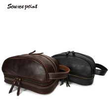 SOURCE POINT Cowhide Leather Make Up Bags Vintage Manual Men's Zipper Multifunction Male Genuine Leather Handbags YD-8120(China)